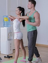Gorgeous Brunette Babe Fucked By Her Brawny Trainer - Picture 1