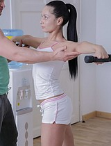 Gorgeous Brunette Babe Fucked By Her Brawny Trainer - Picture 2